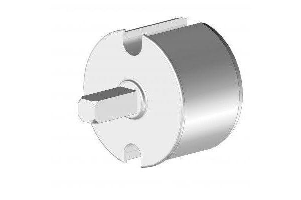 EOI378BR Tourillon aluminium Ø78 mm avec axe carré 13 mm - Orilon - Votre spécialiste de stores, pergolas et pièces détachées