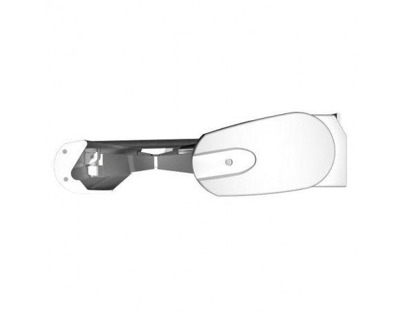 Vue de côté store armature blanche coffre 135