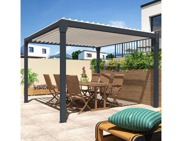 Pergola bioclimatique Orilon 1 Manuelle bicolore îlot 3.50m x 4.00m - Spécialiste de stores, pergolas et pièces détachées